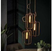 Industriële hanglamp Pixie 3-lichts koper aluminium