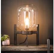 Industriële tafellamp Kelsi glas metaal