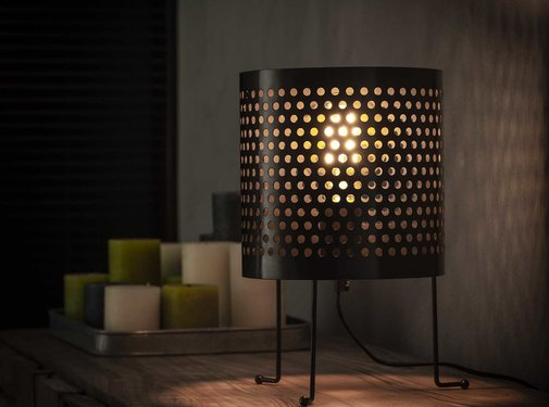 Industriële tafellamp Dionne metaal cilinder Ø22