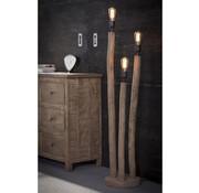 Landelijke vloerlamp Vin 3-lichts eucalyptus hout