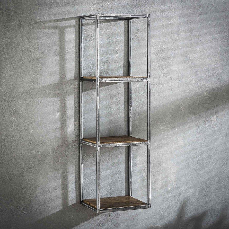 Industriële wandplank Andrew hardhout 100 cm hoog