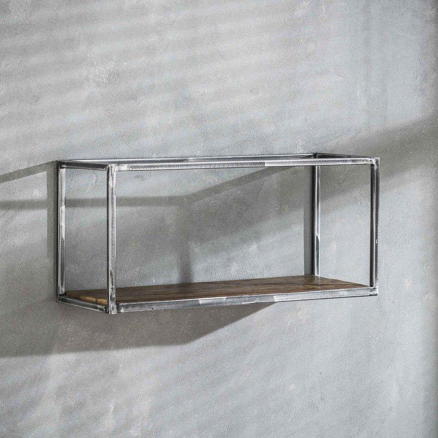 Industriële wandplank Andrew hardhout 65 cm