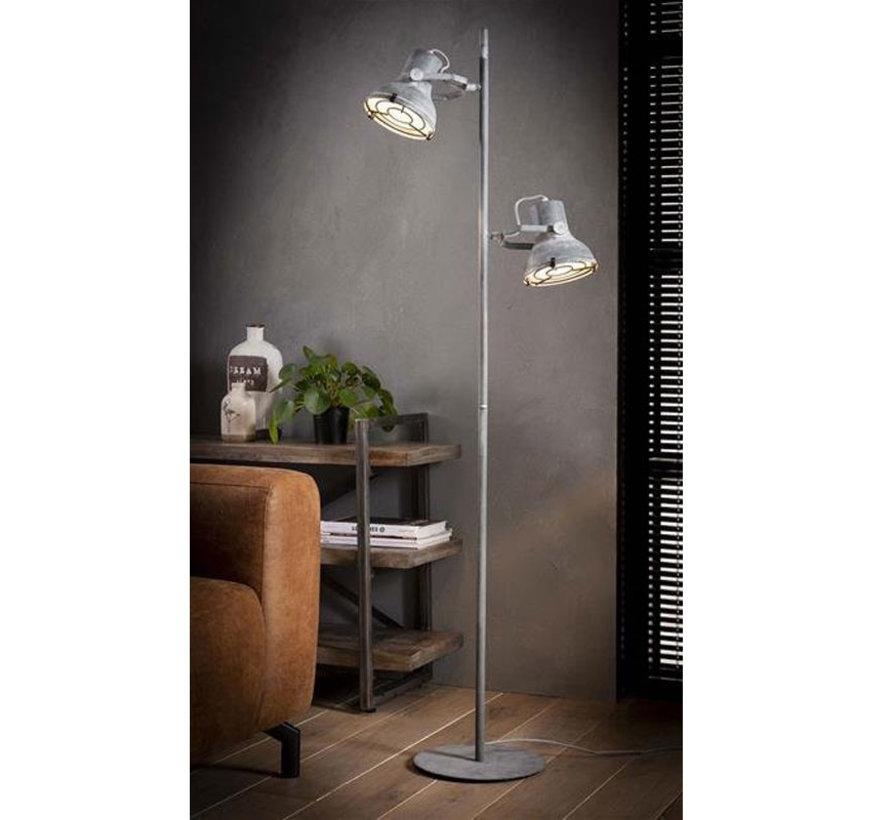 Industriële vloerlamp Kourtney 2-lichts grijs