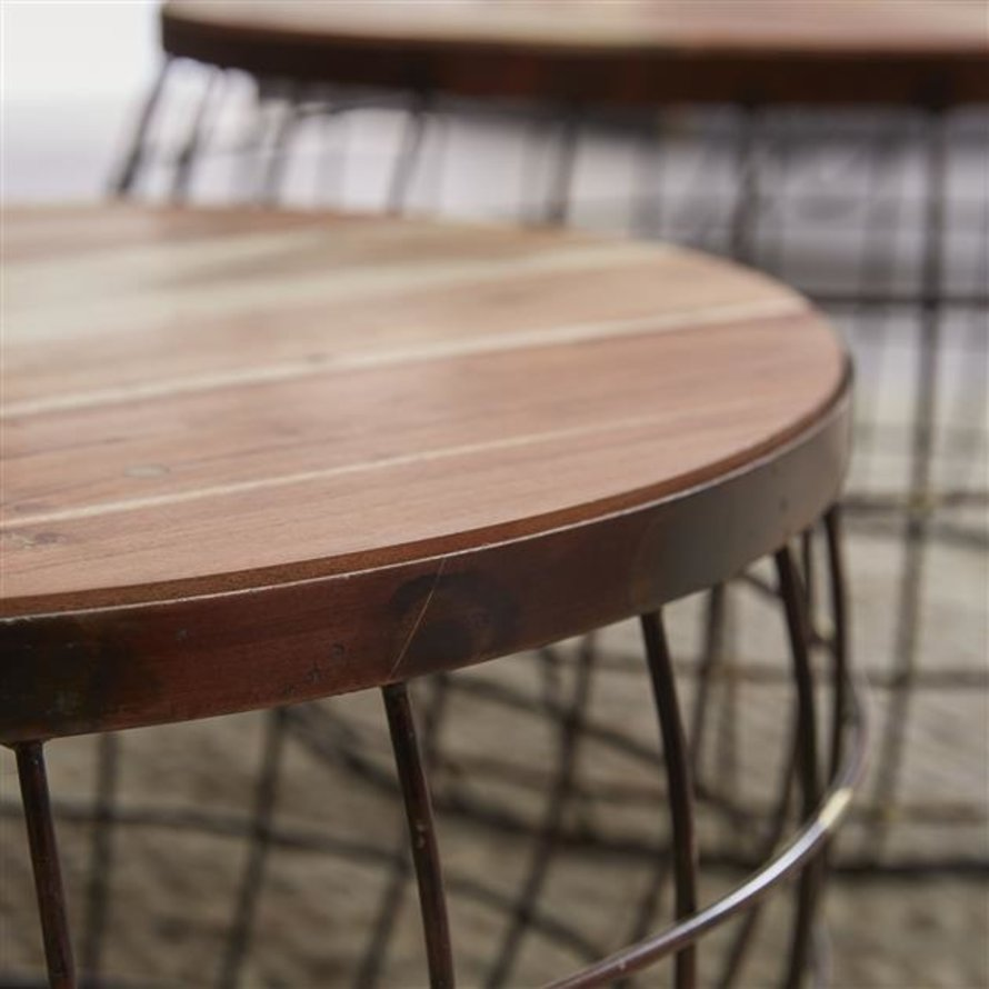 Industriële salontafel set van 2 Lauren mangohout staal