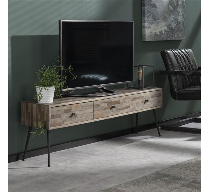 Industriële TV meubel Toby teakhout greywash 3L