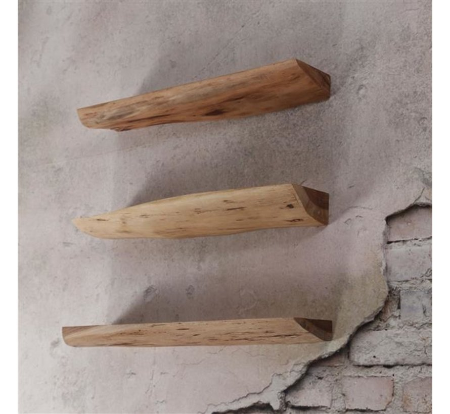 Industriële wandplank set van 3 Edgar acaciahout 60cm