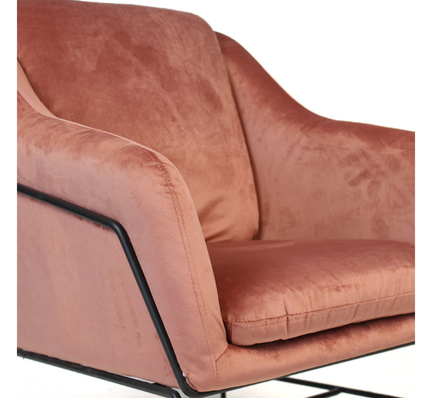 Kleine velvet fauteuil Stella roze