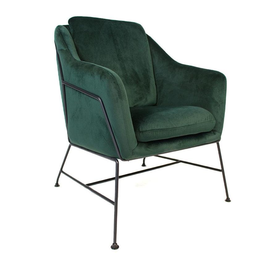 Kleine velvet fauteuil Stella groen