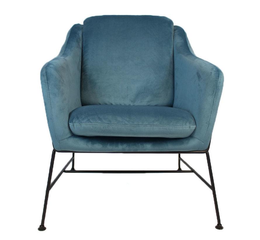 Kleine velvet fauteuil Stella blauw
