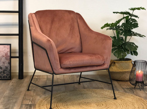 Bronx71 Kleine velvet fauteuil Stella roze