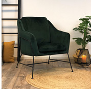Bronx71 Moderne fauteuil Stella Velvet groen