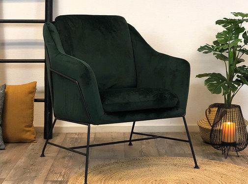 Bronx71 Kleine velvet fauteuil Stella groen