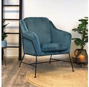 Bronx71 Kleine velvet fauteuil Stella blauw