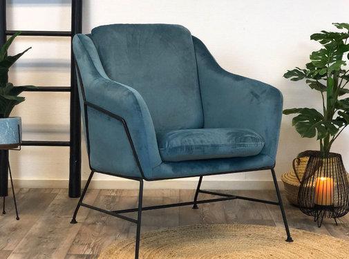 Bronx71 Moderne fauteuil Stella Velvet blauw