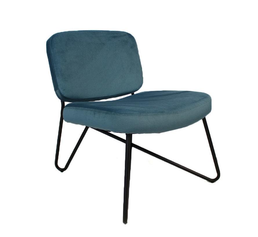 Moderne fauteuil Jill Velvet blauw