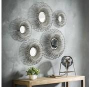 Design spiegel Fleur ijzer set van 5