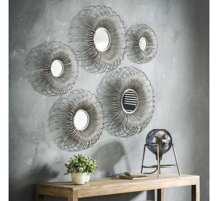 Design spiegel Fleur set van 5 ijzer