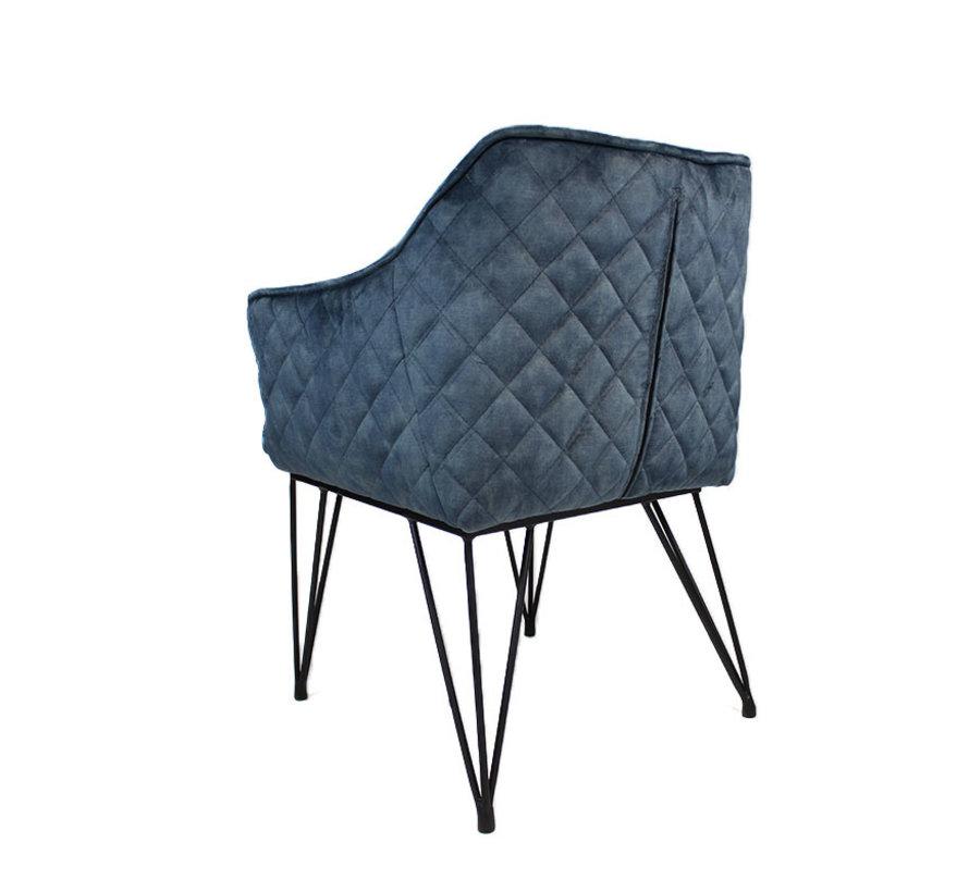 Moderne velvet eetkamerstoel Jayron blauw