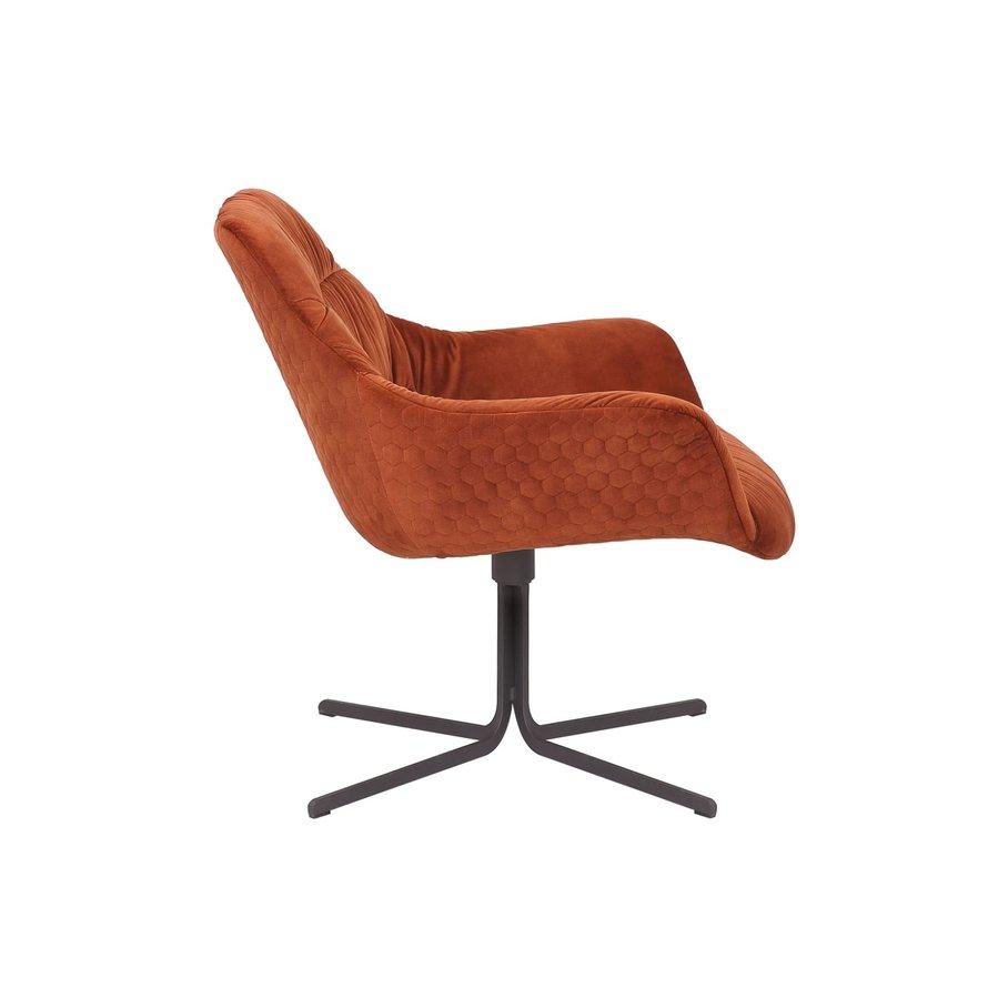 Velvet fauteuil Lizzy draaibaar koper