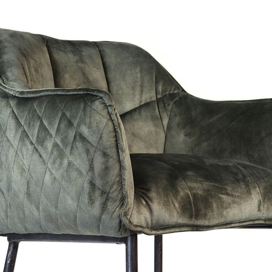 Velvet barkruk Jayron groen 82 cm