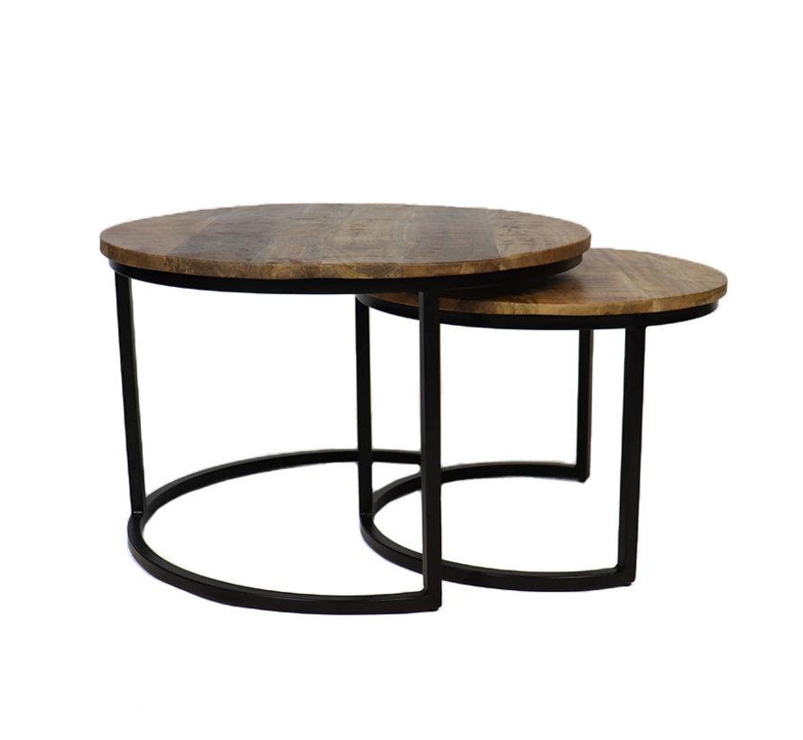 Industriële salontafel rond Lilly mangohout set van 2  Ø70