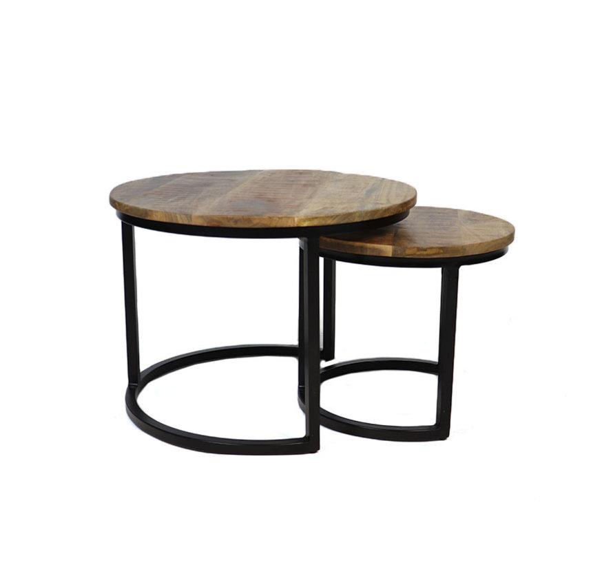 Industriële salontafel rond Liza mangohout set van 2  Ø55