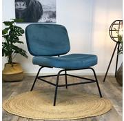 Bronx71 Moderne fauteuil Elena Velvet blauw