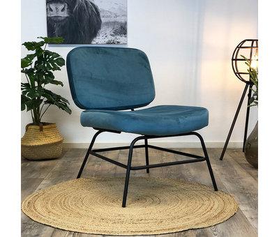 Bronx71 Kleine velvet fauteuil Elena blauw