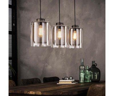 Industriële hanglamp 3-lichts Cruz raster glas