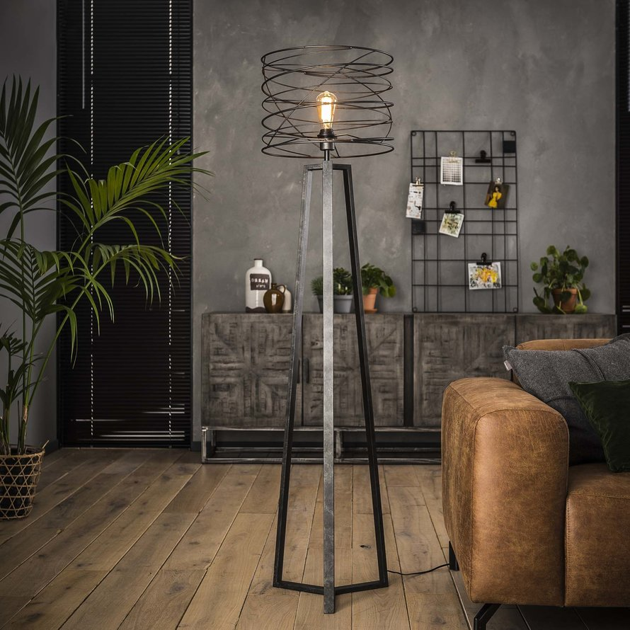 Industriële vloerlamp Curl charcoal