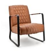 Industriële fauteuil Caro cognac vintage