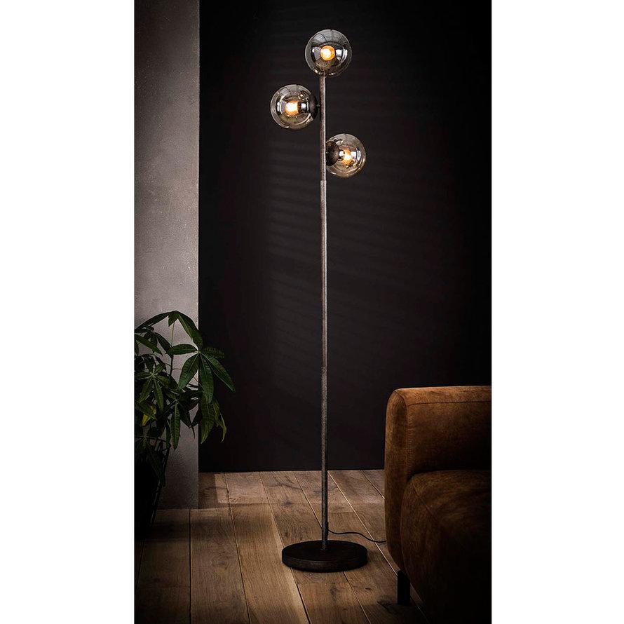 Industriële vloerlamp Carter 3-lichts oud zilver