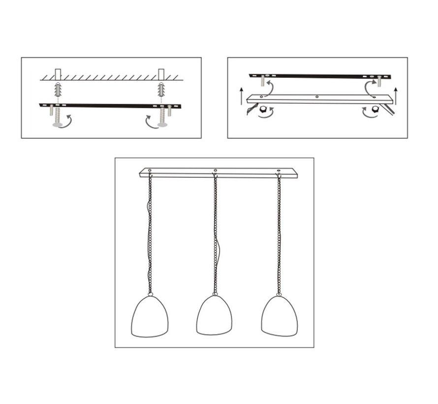 Landelijke hanglamp Kelly 3-lichts mangohout