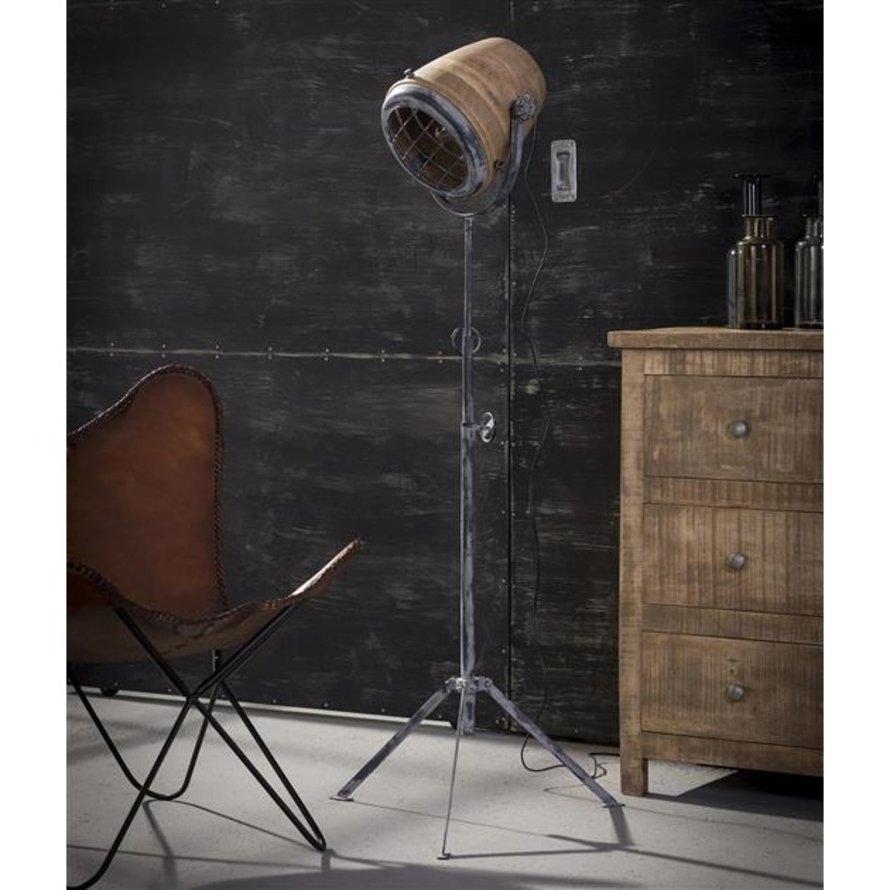 Industriële vloerlamp Kelly mangohout metaal