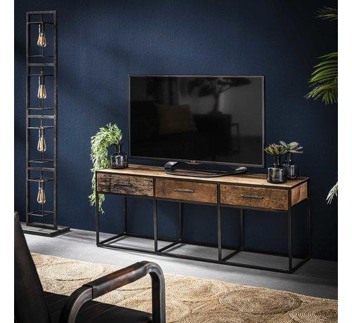 Hardhouten Tv Kast.Industrieel Tv Meubel Floor Hardhout 3 Lades Gratis Bezorgd