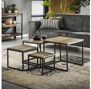Industriële salontafel set Phine teakhout (set van 4)