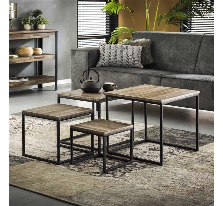 Industriële salontafel set Phine teakhout vierkant (set van 4)