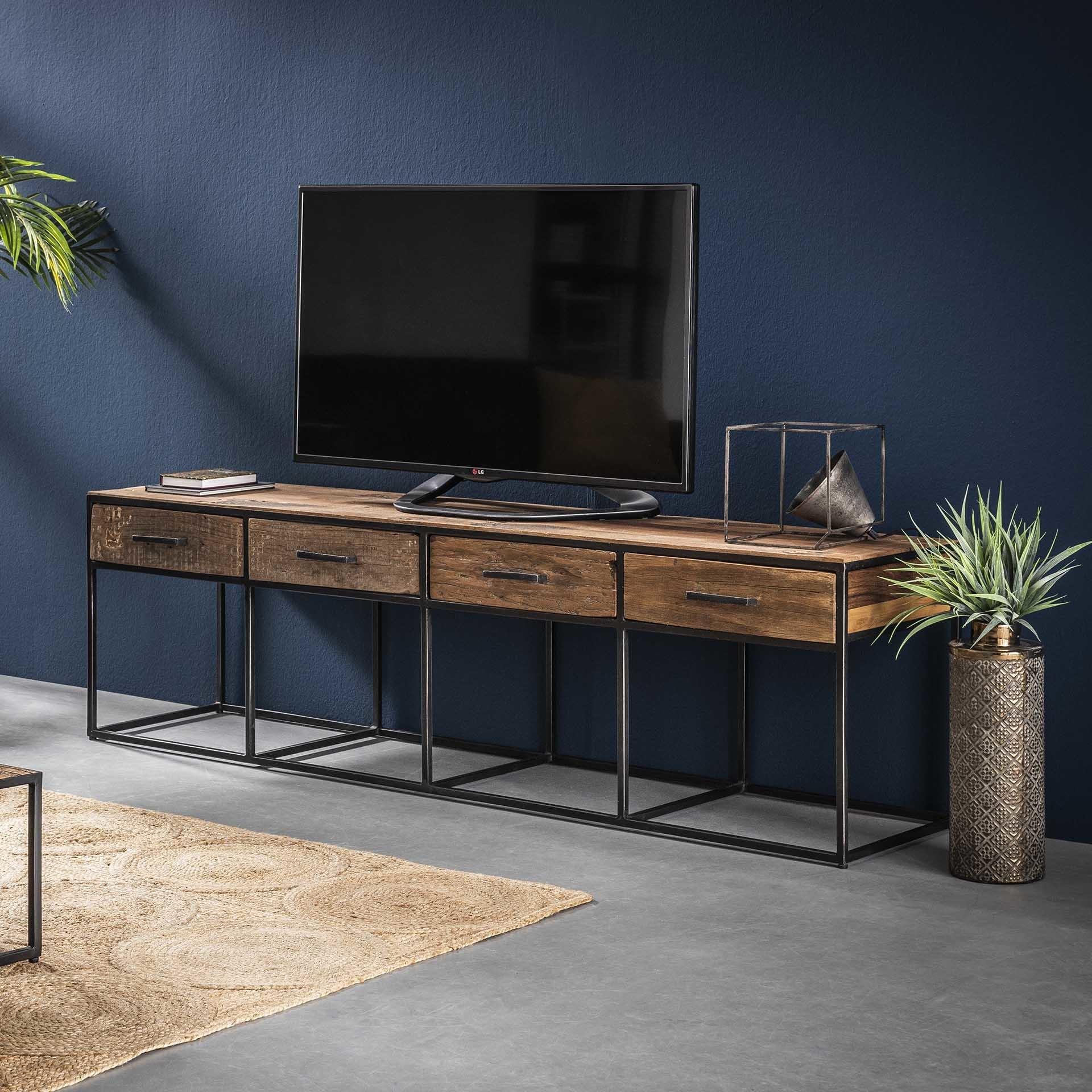 Hardhouten Tv Kast.Industrieel Tv Meubel Floor Hardhout 4 Lades Gratis Bezorgd