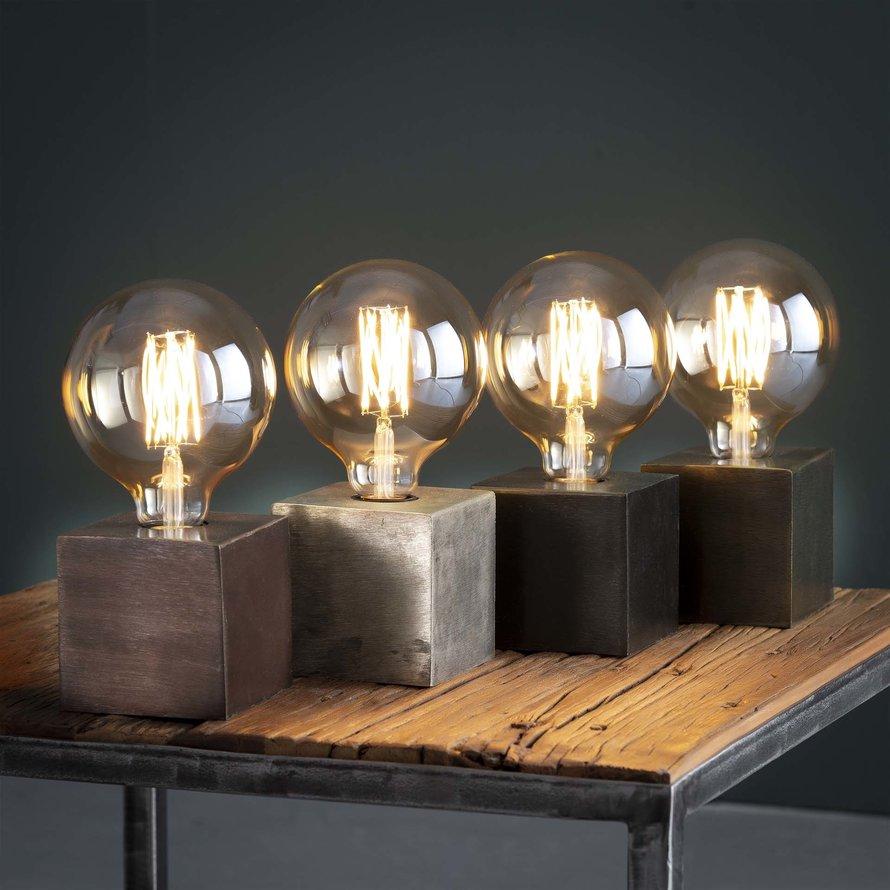 Industriële tafellamp Box zwart  nikkel