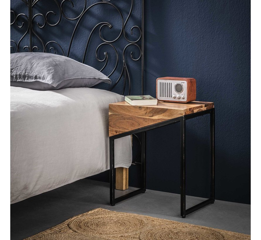 Industriële nachtkastje Tess acaciahout set van 2