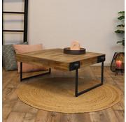 Industriële salontafel Hugo teakhout 70 x70 cm vierkant