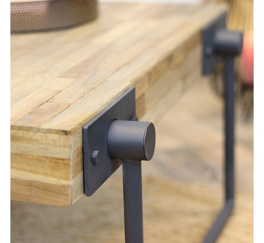 Industriële salontafel Hugo teakhout 70 x 70 cm vierkant