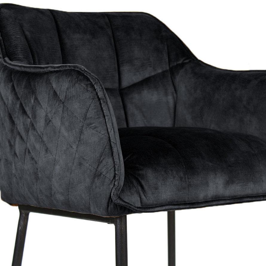 Velvet barkruk Jayron Antraciet 82 cm