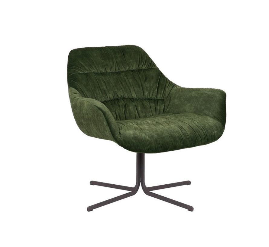 Velvet fauteuil Lizzy draaibaar donkergroen