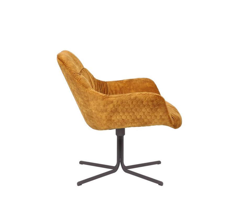 Moderne velvet fauteuil Lizzy draaibaar okergeel