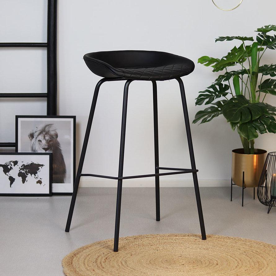 Industriële barkruk Minimal zwart PU leer 77 cm