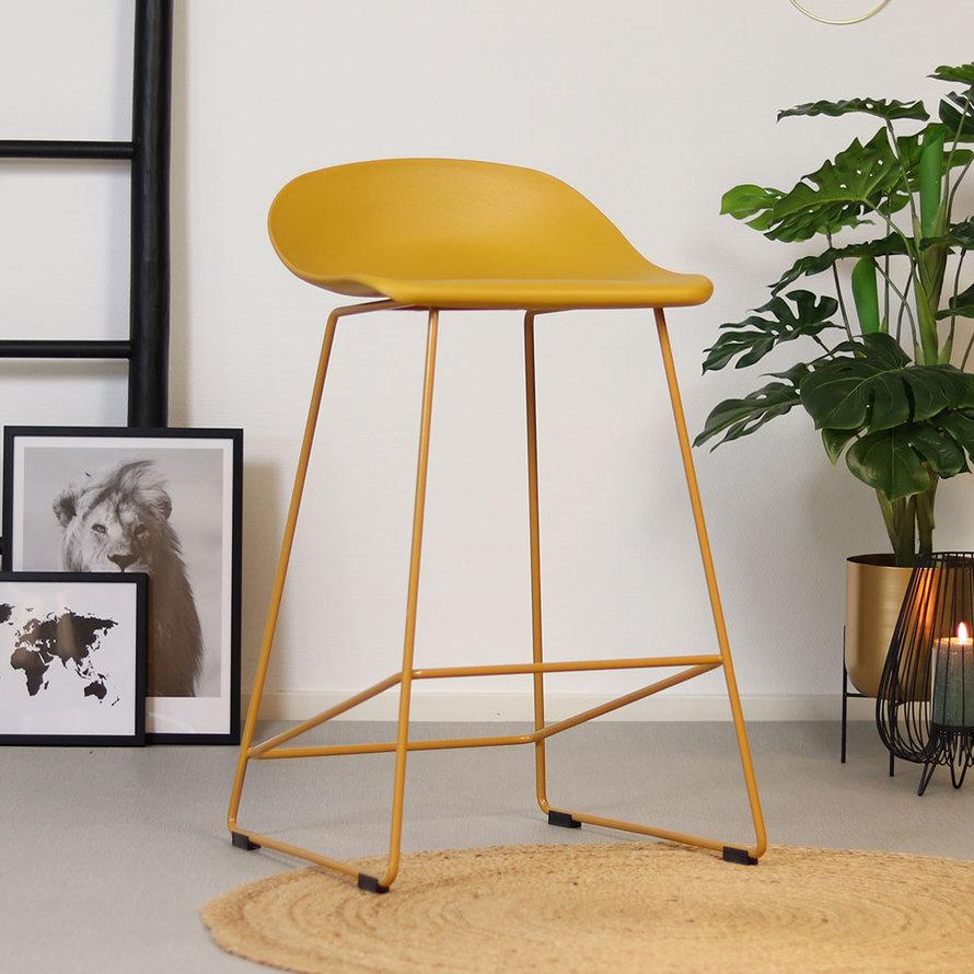 Scandinavische Barkruk Ellen geel 66cm