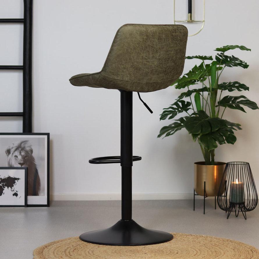 Industriële barkruk Rocky olijfgroen eco leer 63-77 cm