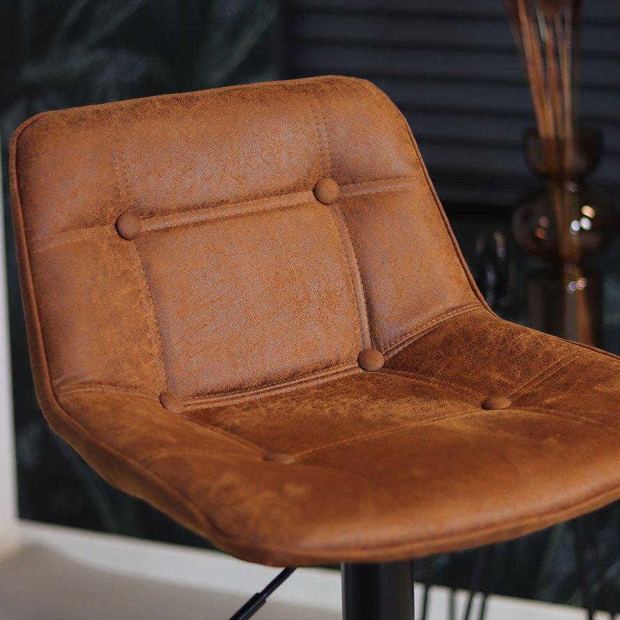 Industriële barkruk Rocky cognac eco leer 63-77 cm