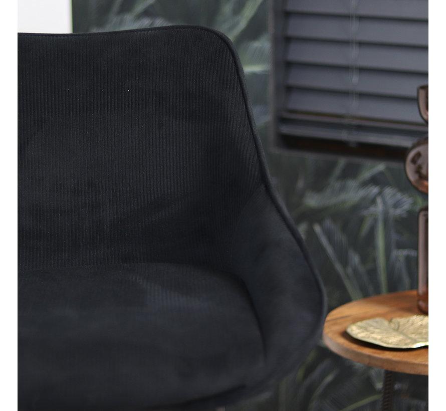 Barkruk draaibaar Luna ribstof zwart 70 cm